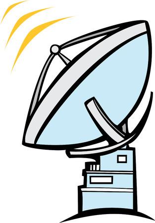 Een grote radiotelescoop schotel luistert en uitzendingen