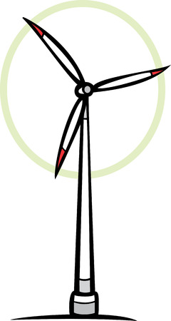 spinning: Eco-Green Wind farm wind mill with spinning blades.