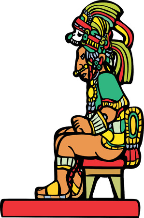 Mayan Lord sitting on a small stool.