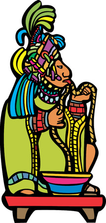 Mayan Lord running rope through his tongue in a traditional blood sacrifice. Vector