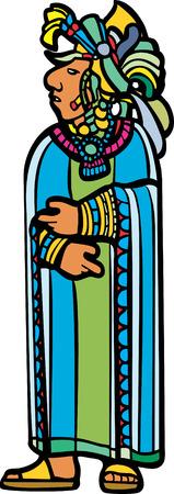 전통적인 마 야 사원 이미지에서 파생 된 이미지에서 깃털 된 머리 장식을 가진 파란색과 녹색 가운에 마 야 주 님.