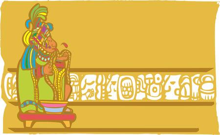 sacrificio: Se�or de Maya que ejecutan la cuerda a trav�s de la lengua en un sacrificio de sangre tradicional en imagen deriva de imaginer�a tradicional templo Maya.