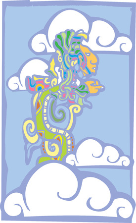 Mayan Vision serpent in the sky with clouds derived from mayan temple imagery.