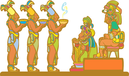Mayan king and court receiving tribute derived from mayan temple imagery.