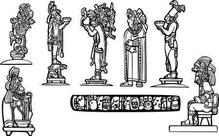 Black and white mayan temple group set derived from mayan traditional imagery. Illustration