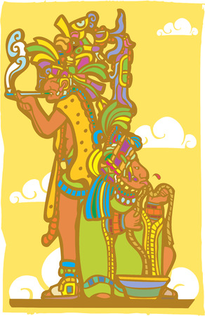 Two mayan priest in blood sacrifice and smoking poses derived from mayan temple imagery. Vector