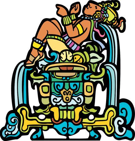 Maya reclinable con cascadas adaptado a partir de imágenes de templo.  Foto de archivo - 8079735