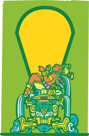 reclining: Reclining Maya in green and orange colors with space for text.