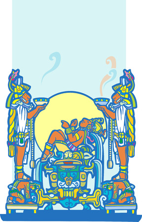 reclining: Reclining Maya with priests holding smoking bowls.
