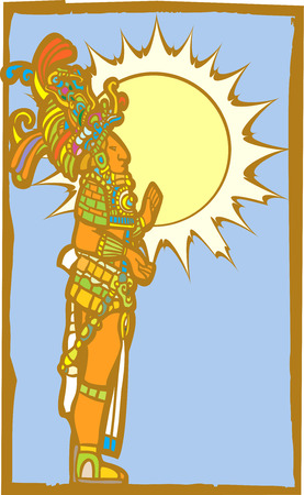 Mayan lord with the sun and sky as a backdrop. Ilustrace