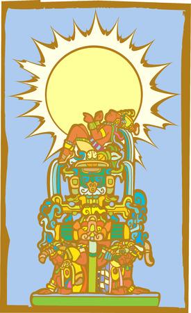 Pedestal de Maya reclinable con esclavos y cascadas.  Foto de archivo - 8079740