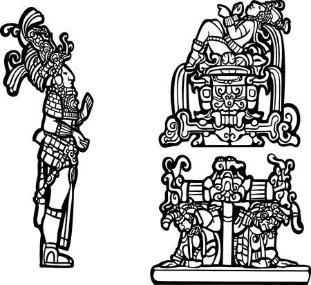 Grupo de imagen spot Maya de blanco y negro.