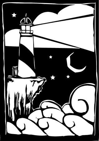 Gravure sur bois style phare brille une lumière sur les ondes. Banque d'images - 8079749
