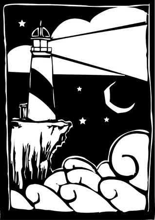Woodcut style Lighthouse shining a light over waves.