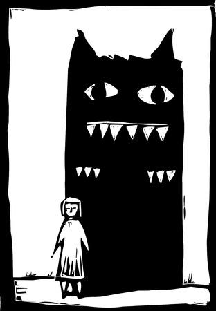Woodcut style image of monster in the shadow of a girl.