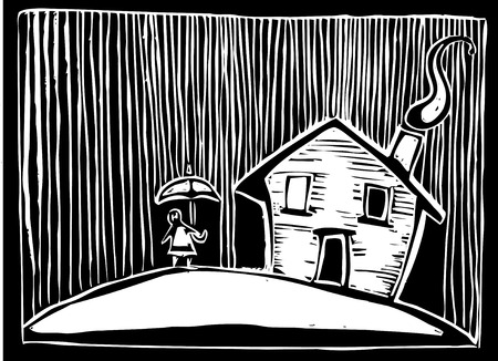 woodcut: Woodcut style image of a house in the rain. Illustration