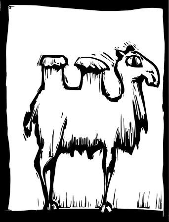 eenvoudige hout snede afbeelding van een dubbele groene kameel.  Stock Illustratie