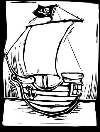 simple woodcut image of a playful pirate ship. Illusztráció