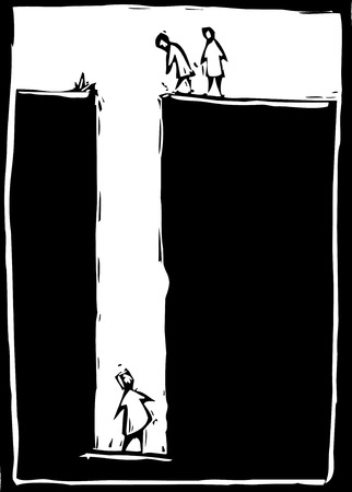 穴の下部に閉じ込められた人のシンプルな木版画のイメージ。