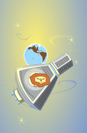 Retro styled lion in a mercury space capsule. Ilustracja