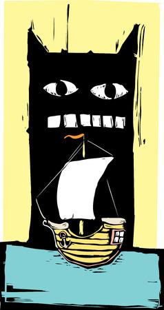 Woodcut stijl monster klaar om te eten een zeilschip.