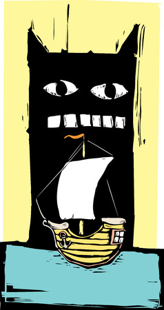 Woodcut style monster getting ready to eat a sailing ship. Vector