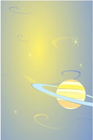 Retro stijl planeet Saturnus drijvend in ruimte.