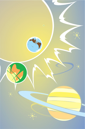 Retro Styled image of the solar system and a few planets. Ilustrace