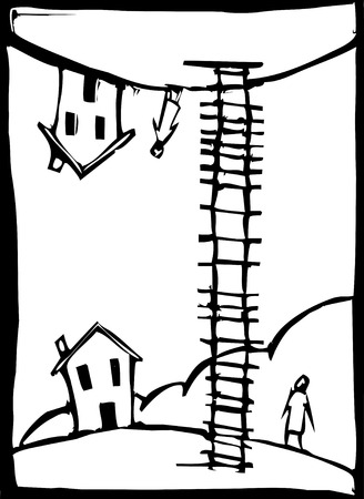 A woodcut style ladder unites two seperate but similar worlds.