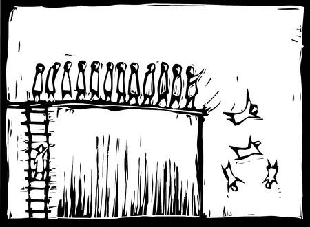 목 판화 스타일 사다리를 기어 올라가고 절벽 위로 밀려 나가는 사람들.