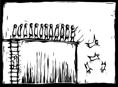 People climbing up a woodcut style ladder and being pushed over a cliff.