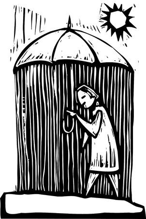 Rain falls on the inside of this woodcut style umbrella.
