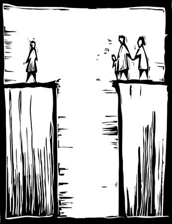 틈의 한쪽에있는 사람들은 다른 쪽 사람과 분리되어 있습니다. 일러스트
