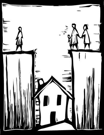metafoor: Woning ligt in een gat in een onroerend goed metafoor. Stock Illustratie