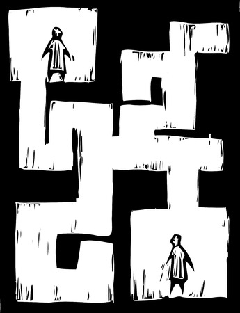 lost: Two people seperated from each other by a maze. Illustration