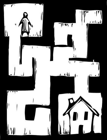 Uomo dovr� viaggiare attraverso il labirinto di arrivare a casa.