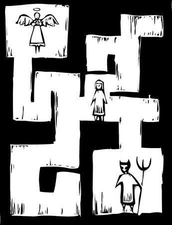 Child in a maze with Angel and Devil at either end.