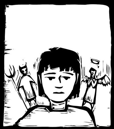 schulter: Angel auf eine Schulter und Teufel auf die andere.
