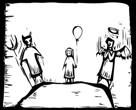 conciencia moral: Angel en un hombro y Diablo por el otro. Vectores