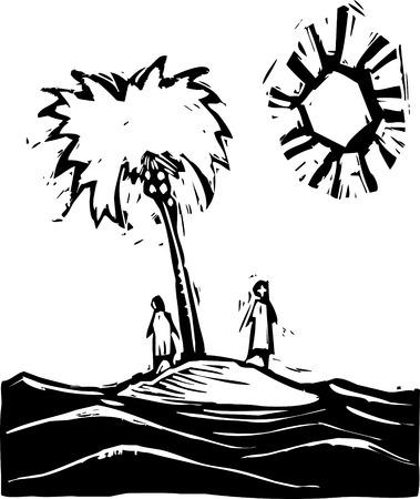 海の小さな島に 2 人の漂流者。