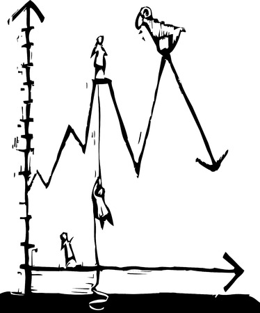 Line graph with mountain metaphor with climbing and goats. Illustration