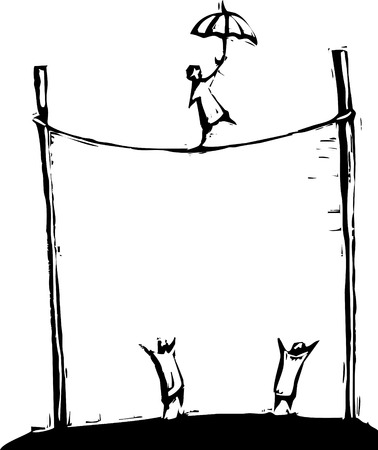 woodcut: Person performing a tightrope walk at a circus. Illustration