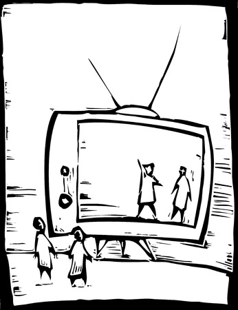 Mensen kijken naar de televisie als was het een fase. Stock Illustratie