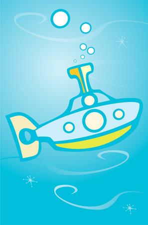 Eenvoudige speelgoed als retro onderzeeër onder blauwe oceaanwater.