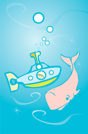 Boy in a retro submarine sees a big pink whale.