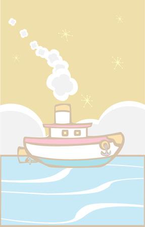 Speel goed sleep boot blaast witte rook op de oceaan. Stock Illustratie
