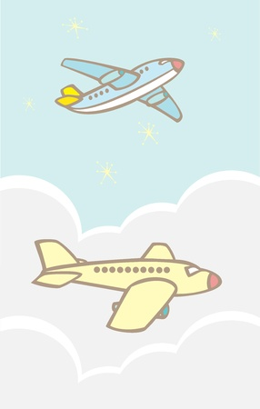 jets: Simple passenger jets flying in the clouds. Illustration