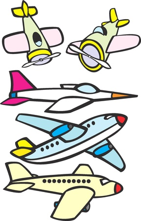 Mix set of toy like simple aircraft. Illustration