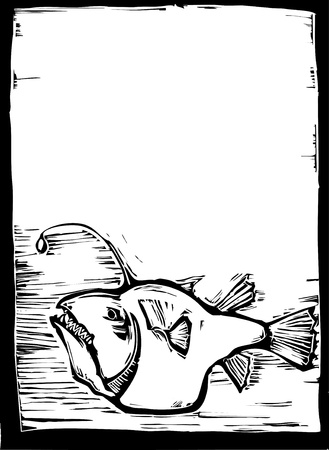 Deep sea angler fish in a woodcut syle.