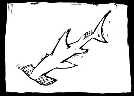 pez martillo: Tibur�n martillo nada en el oc�ano en imagen de estilo de grabado. Vectores